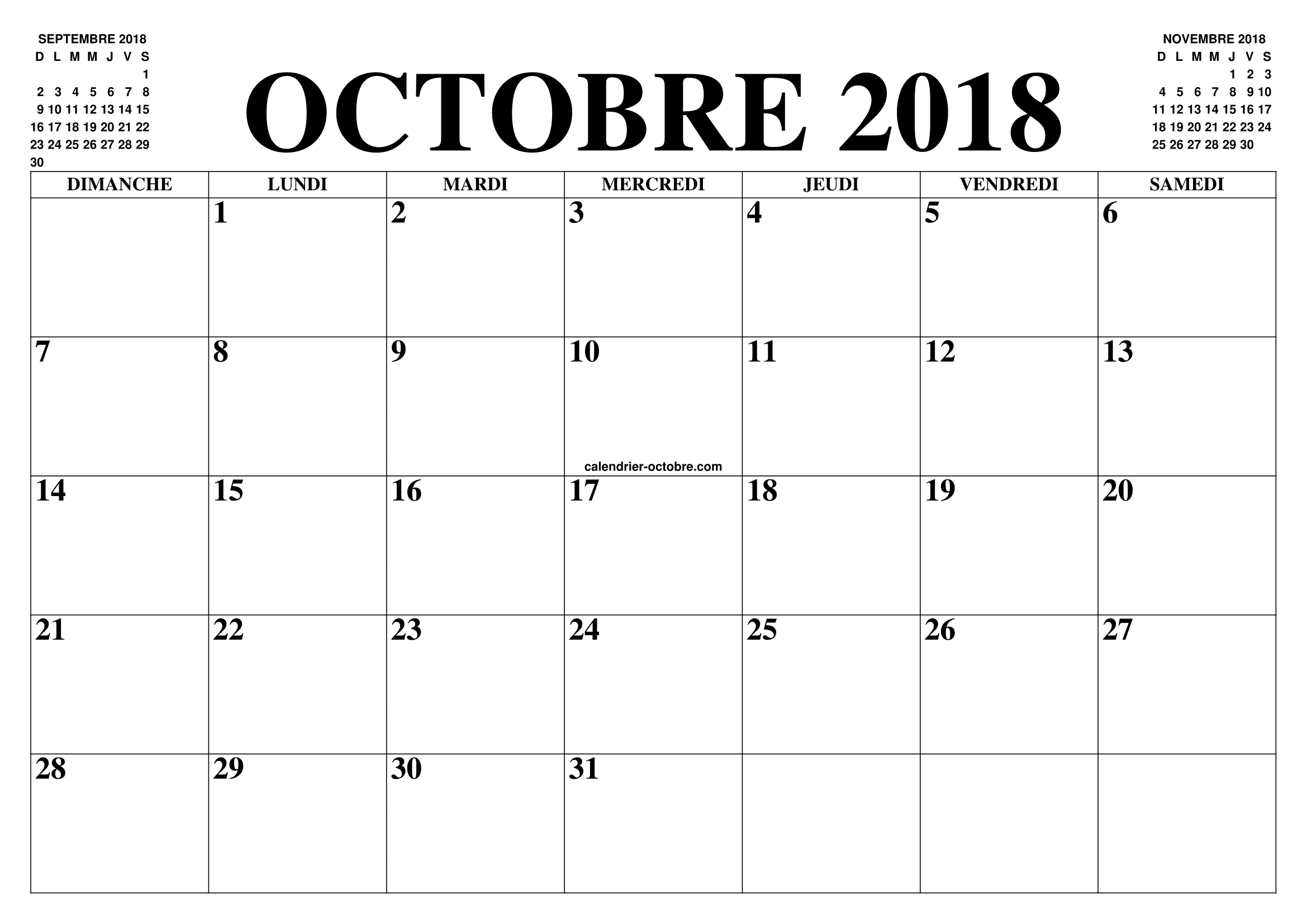 calendrier octobre 2018 2019 le calendrier du mois de octobre 2018 2019 gratuit a imprimer. Black Bedroom Furniture Sets. Home Design Ideas