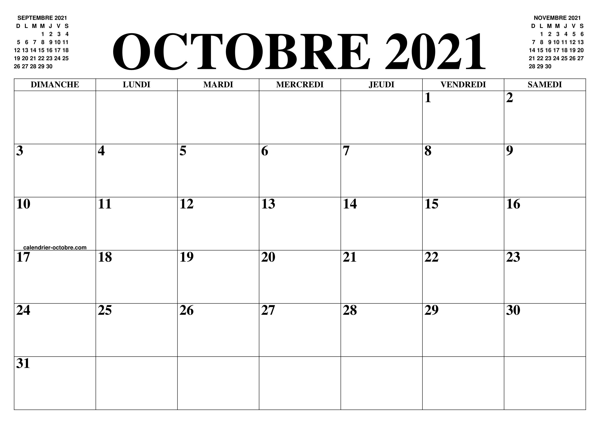 Calendrier 2021 Gratuit.Calendrier Octobre 2021 Le Calendrier Du Mois De Octobre