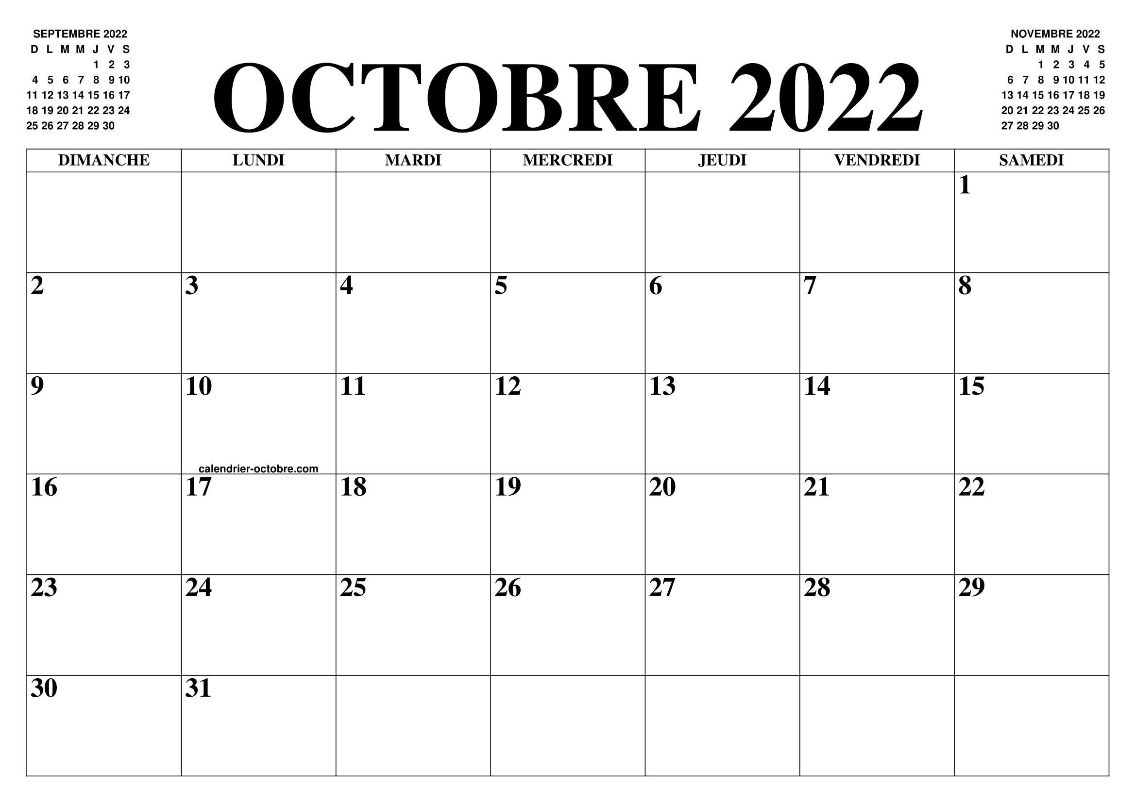 Calendrier 2022 Octobre CALENDRIER OCTOBRE 2022 : LE CALENDRIER DU MOIS DE OCTOBRE GRATUIT
